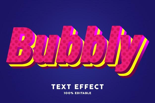 Efecto de texto fresco azul rojo burbujeante