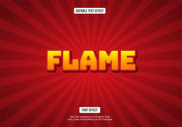 Efecto de texto de fuente 3d brillante llama roja