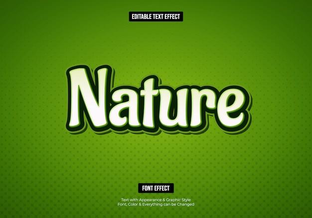 Efecto de texto de fuente de naturaleza verde 3d