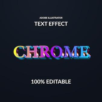 Efecto de texto de fuente serif metálico cromado degradado moderno colorido para techno y brillante