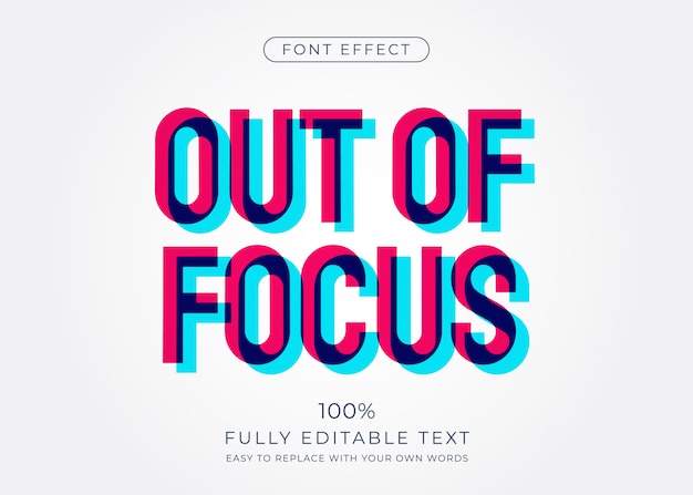 Efecto de texto fuera de foco. estilo de fuente