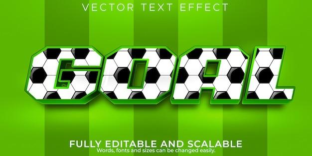 Efecto de texto de fútbol de gol, fútbol editable y estilo de texto de estadio