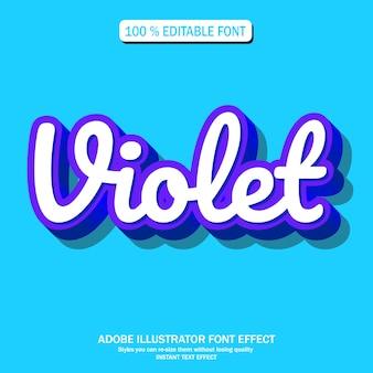 Efecto de texto para futurista fresco con color violeta