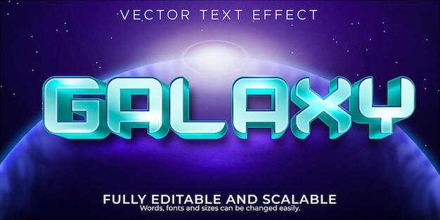 Efecto de texto galaxy editable estilo de texto retro y vintage