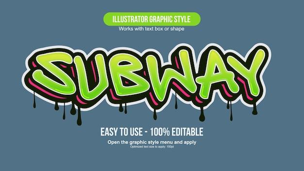Efecto de texto de graffiti moderno verde y rojo