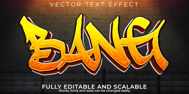 Efecto de texto de graffiti, spray editable y estilo de texto callejero