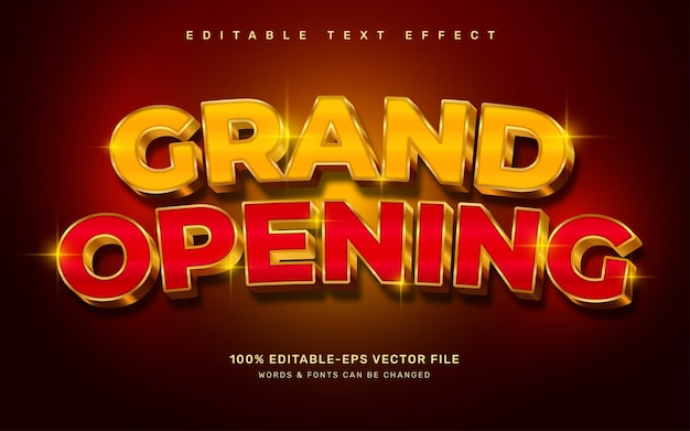 Efecto de texto de gran inauguración