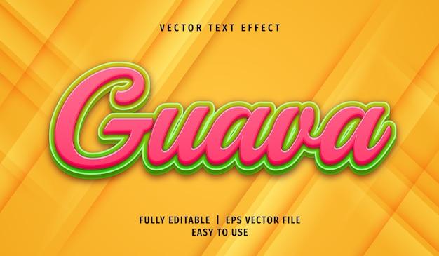 Efecto de texto de guayaba 3d, estilo de texto editable