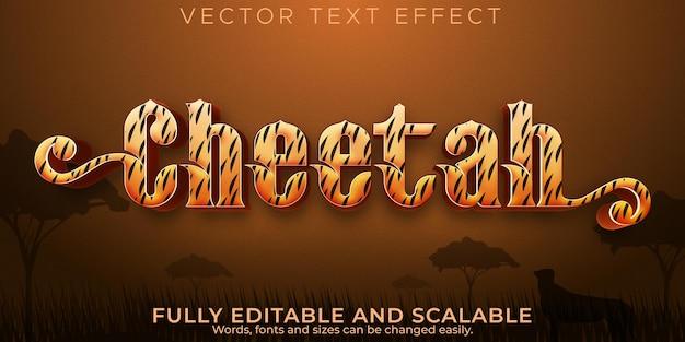 Efecto de texto de guepardo, dibujos animados editables y estilo de texto de áfrica