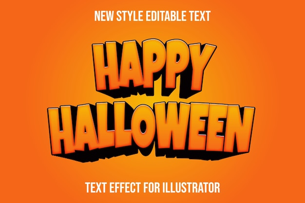Efecto de texto happy hallowen color naranja y negro degradado