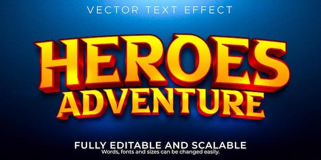 Efecto de texto de héroes dibujos animados editables y estilo de texto cómico