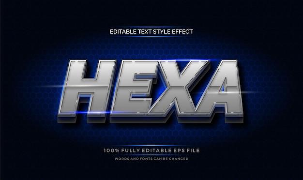 Efecto de texto hexagonal cromado. efecto de estilo de texto editable moderno