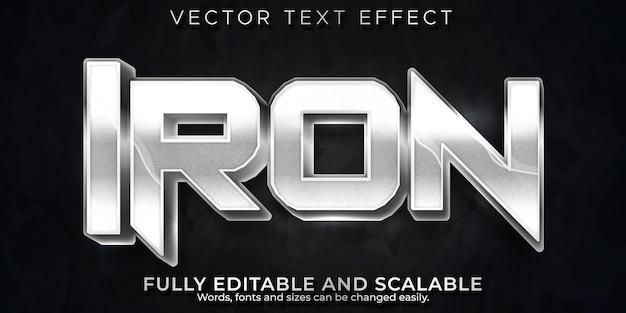Efecto de texto de hierro, estilo de texto metálico y brillante editable