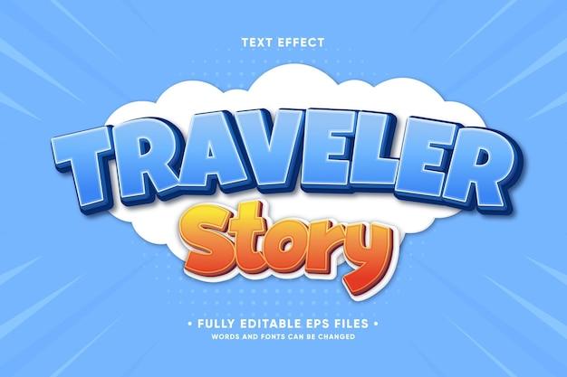 Efecto de texto de la historia del viajero