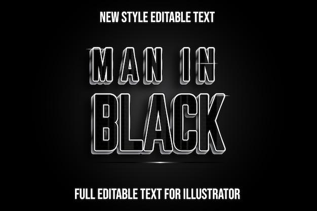 Efecto de texto hombre en color negro degradado negro y plateado