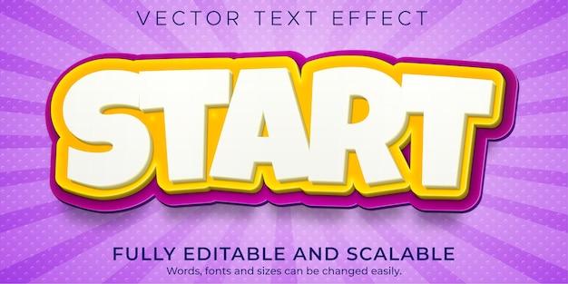 Efecto de texto de inicio de dibujos animados, cómic editable y estilo de texto divertido