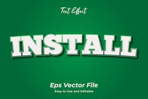 Efecto de texto instalar fácil de usar y editable vector premium