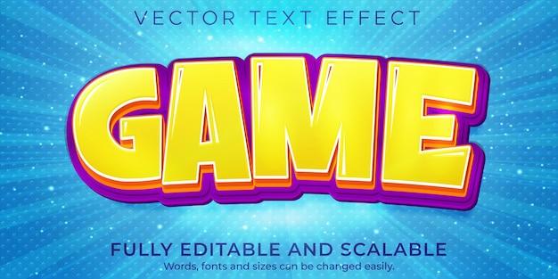 Efecto de texto de juego de dibujos animados editable comic y estilo de texto divertido