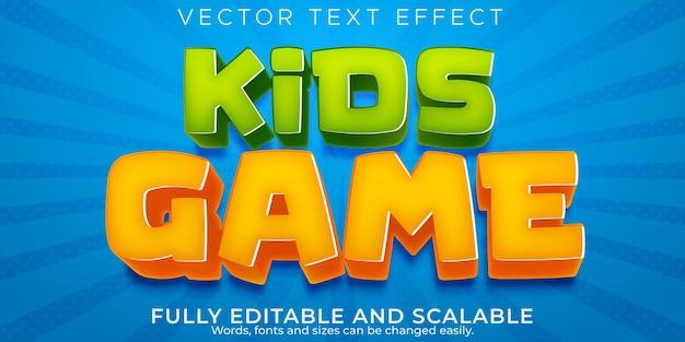 Efecto de texto del juego para niños, dibujos animados editables y estilo de texto cómico