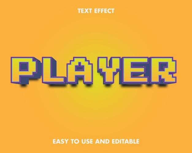 Efecto de texto del jugador. estilo de fuente editable.