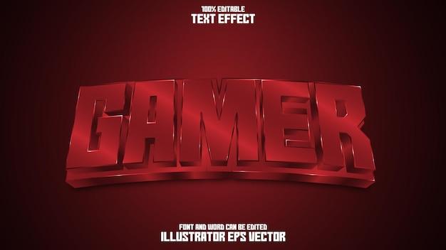 Efecto de texto de jugador gema brillante de sangre roja editable completa