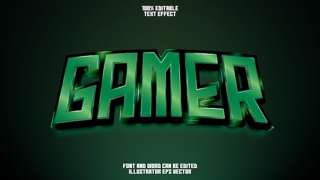 Efecto de texto de jugador gema de esmeralda brillante verde editable completa