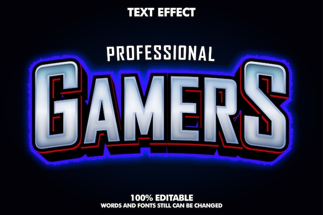 Efecto de texto de jugadores de e-sport con contorno azul claro