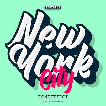 Efecto de texto de letras nueva york