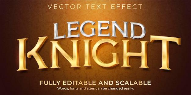 Efecto de texto de leyenda metálica, estilo de texto brillante y elegante editable