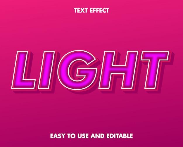 Efecto de texto ligero. fácil de usar y editable. ilustración de vector. vector premium