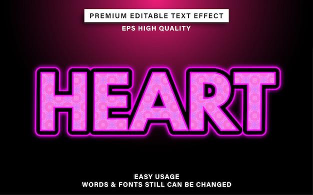 Efecto de texto lindo del corazón