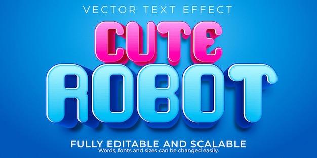 Efecto de texto lindo robot; dibujos animados editables y estilo de texto cómico