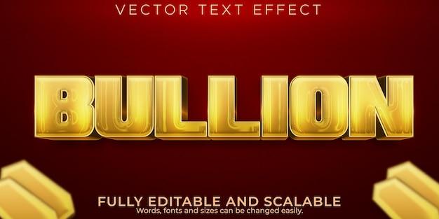 Efecto de texto de lingotes de oro, estilo de texto brillante y elegante editable