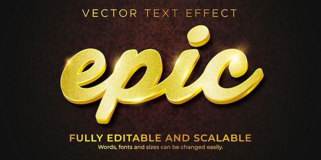 Efecto de texto de lujo dorado, estilo de texto brillante y elegante editable