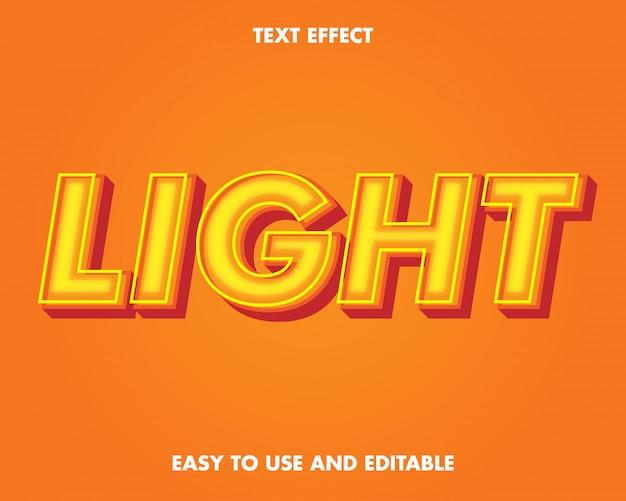 Efecto de texto de luz amarilla.