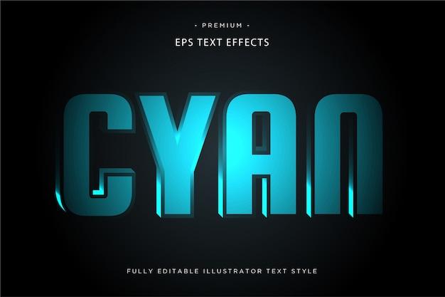 Efecto de texto de luz cian estilo de texto 3d