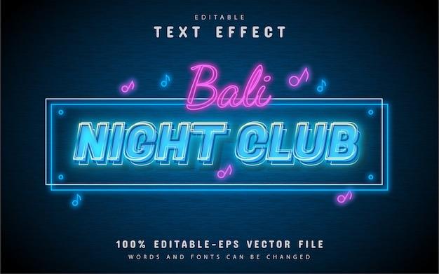 Efecto de texto de luz de club nocturno