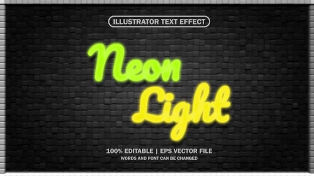 Efecto de texto luz de neón editable eps