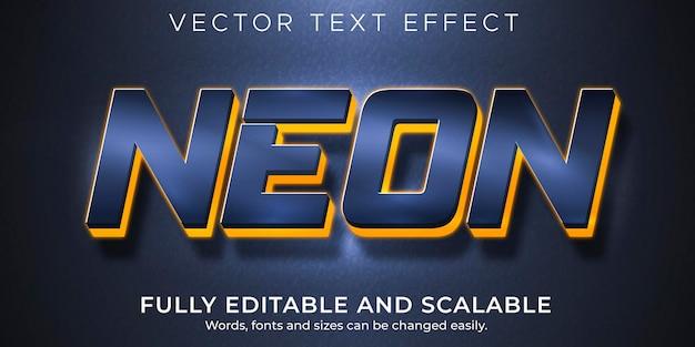 Efecto de texto de luz de neón editable led y estilo de texto brillante