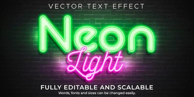 Efecto de texto de luz de neón, estilo de texto retro editable y brillante
