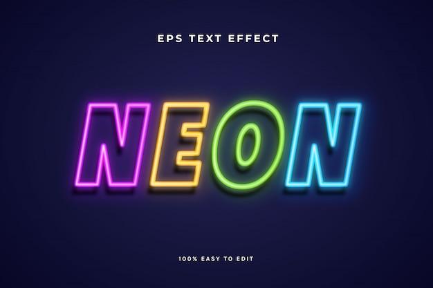 Efecto de texto de luz de neón multicolor