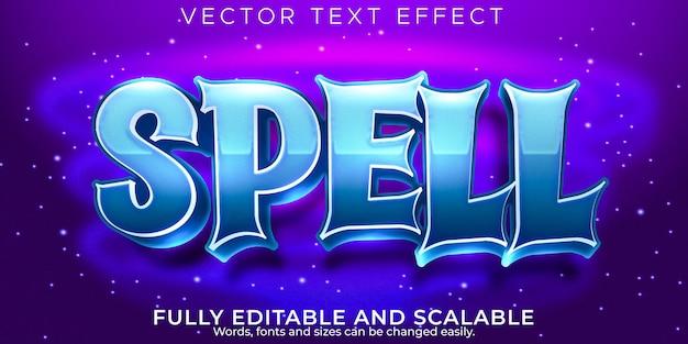 Efecto de texto mágico de hechizos, dibujos animados editables y estilo de texto para niños