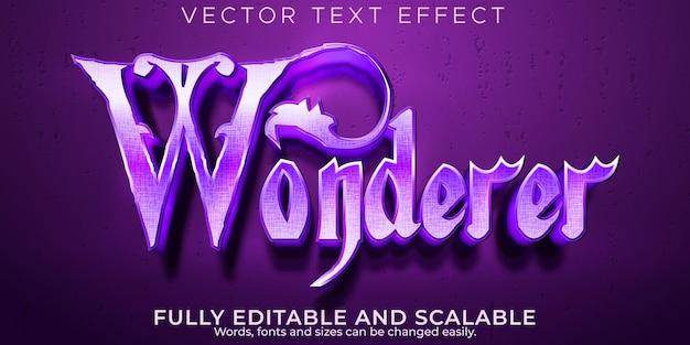 Efecto de texto mágico wonderer, estilo de texto editable de bruja y misterio
