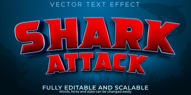 Efecto de texto de mandíbulas de tiburón, pesca editable y estilo de texto de ataque