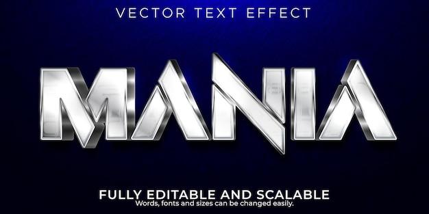 Efecto de texto mania, estilo de texto brillante y metálico editable