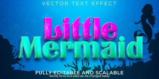 Efecto de texto de mar de sirena, estilo de texto editable de océano y peces