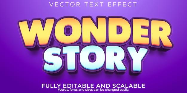 Efecto de texto de maravilla de dibujos animados, niños editables y estilo de texto divertido