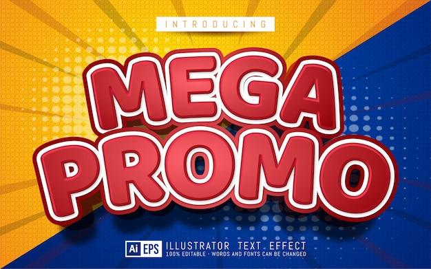 Efecto de texto mega promocional estilo de texto editable en 3d adecuado para promoción de banner