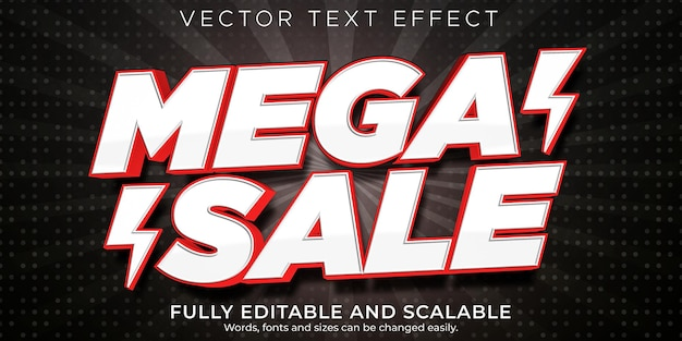 Efecto de texto de mega venta editable compras y estilo de texto de oferta