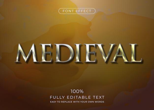 Efecto de texto de metal medieval. estilo de fuente